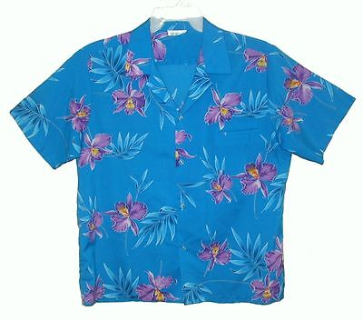 Mens Vintage 1960s MADE IN HAWAII Aloha Shirt TROPICAL ORCHIDS Turquoise Poly XL