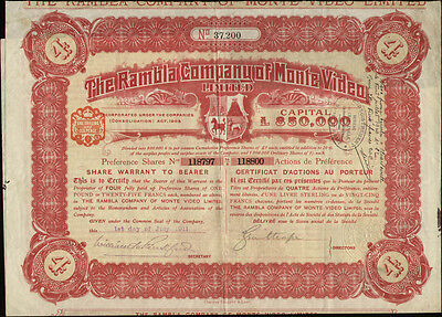 Uruguay The Rambla Company of Monte Video share warrant  1911