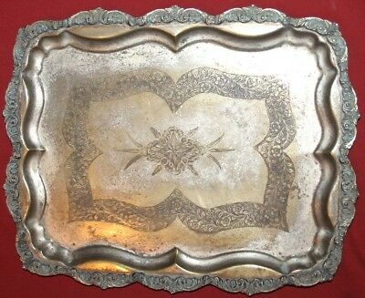Antique Art Deco ornate floral silver plated brass serving tray
