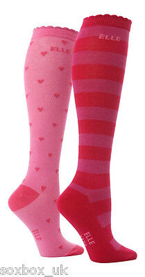 2 Prs Girls Elle Over Knee Socks Pink Red Heart Stripe Size 12-3 Uk, 30.5-35 Eur