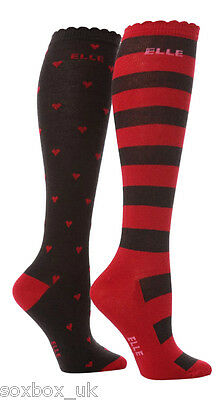 2 Prs Girls Elle Over Knee Socks Red Hearts Stripe Size 12-3 Uk, 30.5 - 35.5 Eur