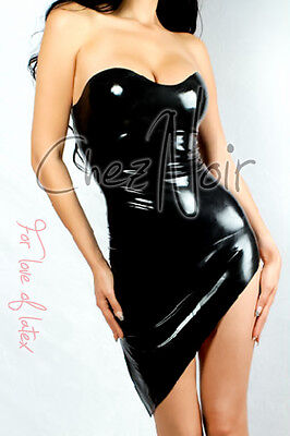 Latex Party Dress - Strapless - Black - Rubber Fetish Gummi
