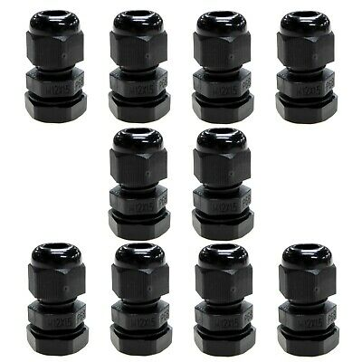 10 x 12mm compression cable glands black waterproof IP68 M12 TRS stuffing gland