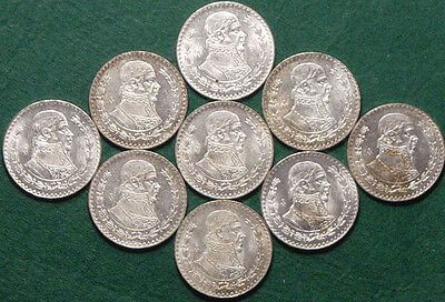 Lot Of 9 Mexican Silver Pesos All 1960 Uncirculated - L@@K