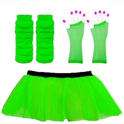 Green Neon Tutu Gloves Leg Warmers Fishnet Gloves 1980S  Costume St Patricks Day