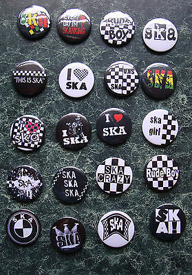 SKA COLLECTION 22 x 25mm BUTTON BADGES REGGAE SKINHEAD SCOOTER