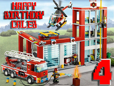 FIRE TRUCK City Edible CAKE Image Icing Topper Frosting Sheet Lego