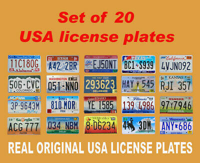 20 Usa License Plates Set United States Number Tag Lot Real Best Quality Us Look