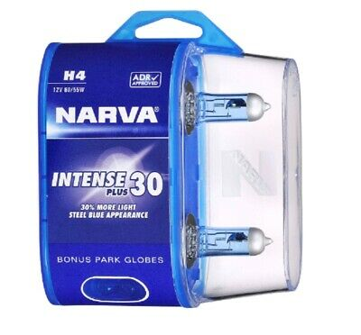 Narva H4 Intense Maximum Legal Blue Bright White Bulbs 12v Globes & T10 Parkers