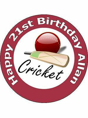 """7.5"""" Cricket Birthday Cake Topper Personalised & Decorated On Edible Rice Paper"""