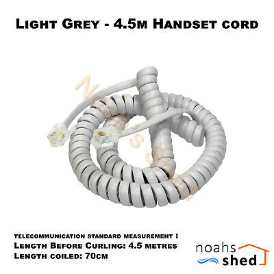 Light Grey Telephone Spiral Wire Phone Handset Curly Cord Cable 4.5M RJ11 4P4C