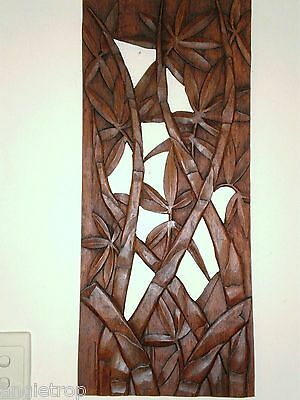 Bamboo Leaves Wall Art Panel Hanging Hard Wood Carving Bali Balinese 60Cm