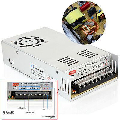 12V DC 30A 360W Regulated Switching Power Supply For LED Strip Lights US Ship