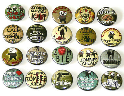ZOMBIE BADGES Buttons Pins Lot x 20 Funny Zombies Slogans 25mm One Inch 1""