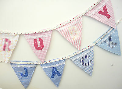 BUNTING - PERSONALISED, PINK Powell Craft Alphabet letter flags