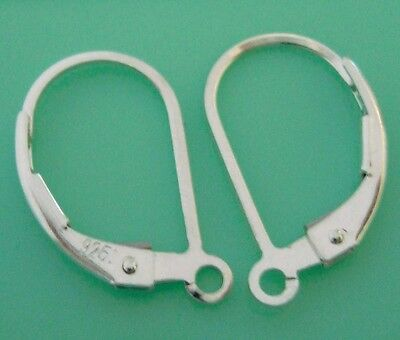 10pcs 925 Sterling Silver plain leverback earring wire lever back with ring E48s