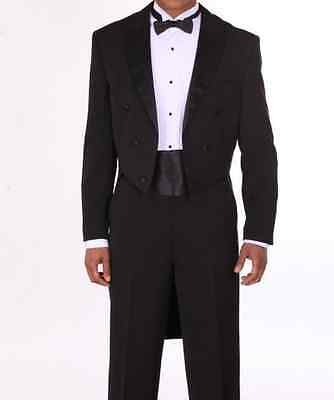 Men's Tuxedo Suit with Long Tail, comes with Pants, black, White Fortino Landi