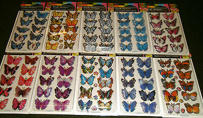 Pack  3D Effect Glitter Butterflies Card Craft Embellishments 10 Colours