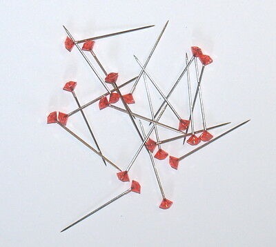BOX OF 100 x 37mm RED DIAMANTE  PINS FOR CORSAGE'S, BUTTON HOLES ETC