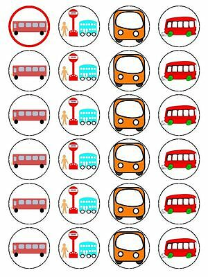 X24 Cartoon Bus Stop Birthday Cup Cake Toppers Decorations On Edible Rice Paper