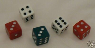 Standard Playing Gaming Dice (White, Red or Green) £1.79 for 3