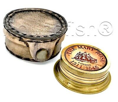 Brass Sundial Compass - The Mary Rose - London-Sundial Compass With Leather Case