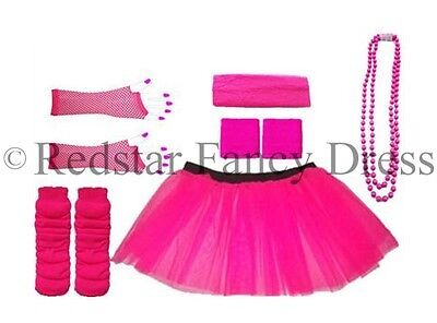 Neon Pink Tutu Skirt Legwarmers Fishnet Gloves Head Wristbands Hen Party 8-26 Uk