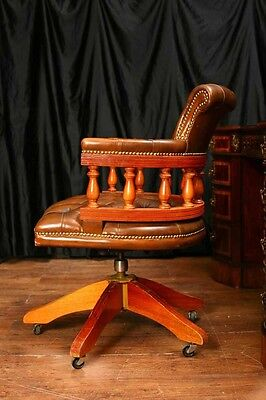 Leather Desk Chair Swivel Captains Tub Seat Office Furniture