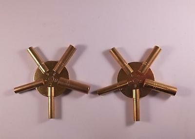 Lovely Quality Solid Brass Spider Clock Winding Keys Set Of Two Odds & Evens UK