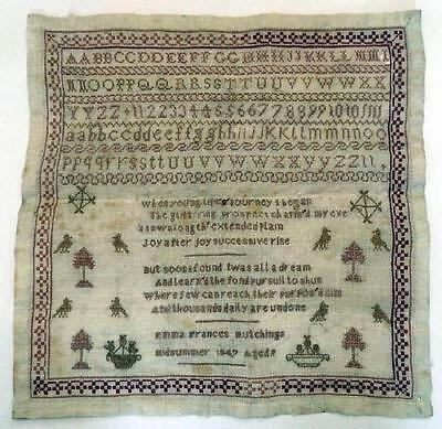 Antique English Sampler by Emma Frances Hutchings, Aged 9, 1847 - Unframed