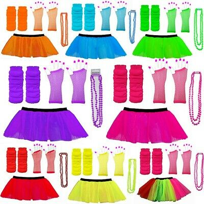 Neon 3 Layer Tutu Skirts Neon Leg Warmers Gloves Beads 1980S Fancy Dress Hen Par