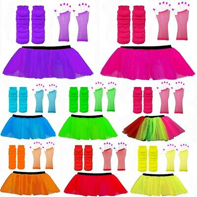 Neon Tutu Skirts 3 Layer Neon Leg Warmers Fishnet Gloves 1980S Fancy Dress Hen P