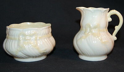 BELLEEK RIBBON SUGAR AND CREAMER WITH 5TH MARK 2ND GREEN MARK