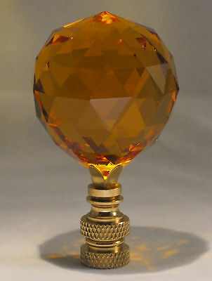 Lamp Finial-Stunning Leaded Crystal Lamp Finial-Lite Amber-Pb