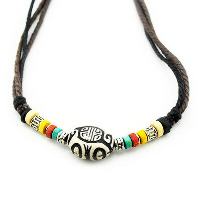 TIBET KETTE SERIE 1 ! Leder Halskette Leather Necklace Kette Surfer Surferkette