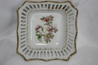 Vintage White Lattice Small Square Candy Dish Made In Occupied Japan Gold Rim