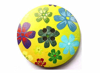 3 Buttons, wood, 40mm, green with flowers picture, for crafts and more..