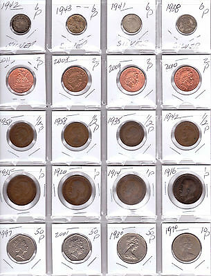 GREAT BRITAIN Lot of 20 Different Coins - 4 Silver Coins