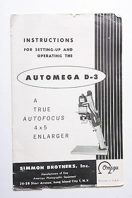 AutOmega D3 Enlarger Instruction Owners' Set-Up Manual Guide Book En USED B2