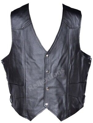 Mens Leather Vest Waistcoat Motorcycle Biker Rider Eagle Embossed Live to Ride