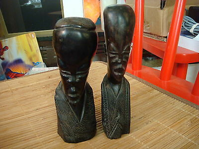 Old Wood African Tribal Busts Figures Men Hand Carved Heads Statue Sculpture
