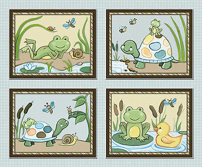 Pond Friends, Wiggle Bugs, Nursery Wall Art, Decor, Frog, Turtle, Duck, Prints