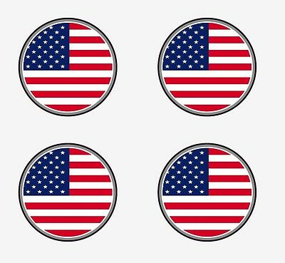 "Set of 4 - US American Flag sticker vinyl decal 2"" x 2"""