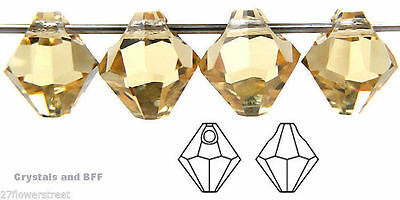 12 Czech Machine Cut Top-Drilled Bicone Pendant Crystals 6mm Chrysolite color