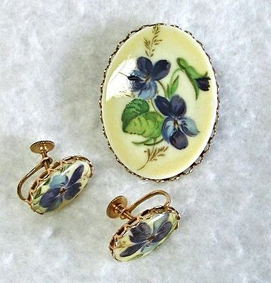 Vintage Brooch & Earrings Set Spring Violets Screw-Back Cameo Oval Goldtone