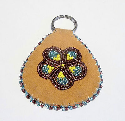 Alaskan Beaded on Moose hide Floral Key Ring/ double sided