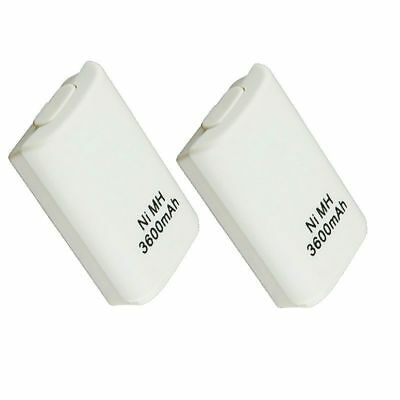 2X Wireless 3600 mAh Controller Rechargeable Battery Pack for Xbox 360 White