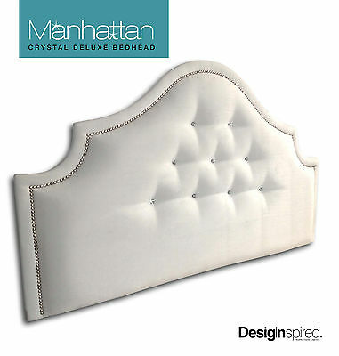MANHATTAN CRYSTAL DELUXE - Upholstered Bedhead for Double Ensemble - SNOW