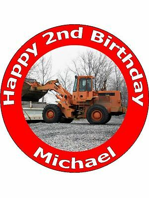 7.5 Inch Personalised Digger Jcb Cake Toppers Decorations On Edible Rice Paper