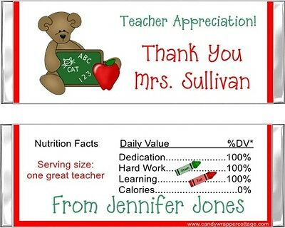 6 Teacher Appreciation Gift Personalized Candy Bar Wrappers